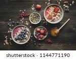 helthy breakfast. delicious... | Shutterstock . vector #1144771190