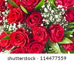 Stock photo red roses bouquet background 114477559