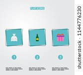 set of wedding icons flat style ... | Shutterstock .eps vector #1144776230