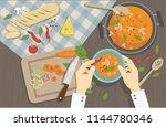 the cook prepares delicious... | Shutterstock .eps vector #1144780346