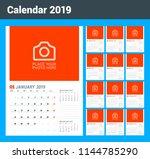 wall calendar planner template... | Shutterstock .eps vector #1144785290