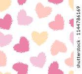 vector fluffy heart seamless... | Shutterstock .eps vector #1144786169
