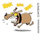 crazy dog running and barking... | Shutterstock .eps vector #1144789679