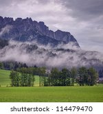 alpine landscape after rain - stock photo