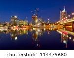 Skyline of Vienna and the Danube river, night scene. Austria - stock photo