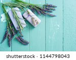 lavender soap and flowers on... | Shutterstock . vector #1144798043