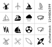 set of 16 wind filled and... | Shutterstock .eps vector #1144806599