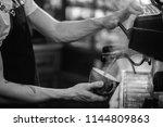 a barista is brewing hot water...   Shutterstock . vector #1144809863