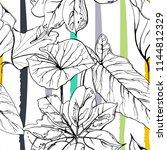 tropical  modern stripes motif. ... | Shutterstock .eps vector #1144812329