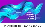 wave liquid shapes with 3d... | Shutterstock .eps vector #1144816430