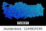 hexagon blue turkey map.... | Shutterstock .eps vector #1144819190
