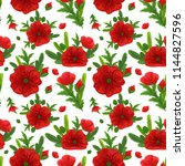 wildflowers seamless pattern... | Shutterstock .eps vector #1144827596