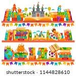bookshelves with books in room... | Shutterstock .eps vector #1144828610