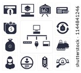set of 13 simple editable icons ... | Shutterstock .eps vector #1144841246