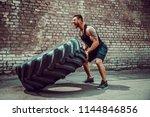 muscular bearded tattooed... | Shutterstock . vector #1144846856