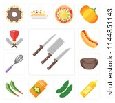 set of 13 simple editable icons ... | Shutterstock .eps vector #1144851143