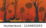 forest fire flat vector concept ... | Shutterstock .eps vector #1144853393