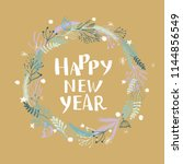 happy new year hand written... | Shutterstock .eps vector #1144856549