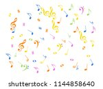 music notes flying chaos vector ... | Shutterstock .eps vector #1144858640