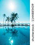beautiful tropical beach and...   Shutterstock . vector #1144885439