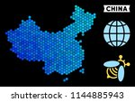 blue hexagon china map.... | Shutterstock .eps vector #1144885943