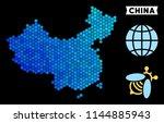 blue hexagon china map.... | Shutterstock .eps vector #1144885943