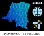 blue hexagon democratic... | Shutterstock .eps vector #1144886003