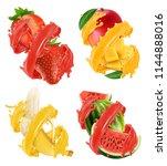 fruits and berries in splash of ... | Shutterstock .eps vector #1144888016