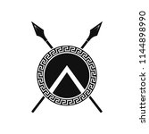spartan shield and spears.... | Shutterstock .eps vector #1144898990