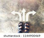 top view of selfie feet on... | Shutterstock . vector #1144900469