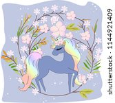cute unicorn in pink floral... | Shutterstock .eps vector #1144921409