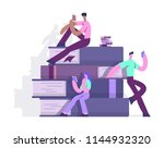 man and woman reading a book... | Shutterstock .eps vector #1144932320