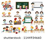 set of children in classroom... | Shutterstock .eps vector #1144934660