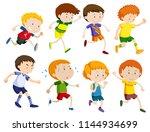 set of children running... | Shutterstock .eps vector #1144934699