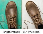 close up vintage leather shoes... | Shutterstock . vector #1144936286
