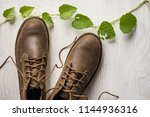 close up vintage leather shoes... | Shutterstock . vector #1144936316