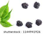 ripe blackberries and leaves | Shutterstock . vector #1144941926