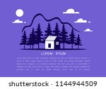 country house or blue home icon ... | Shutterstock .eps vector #1144944509