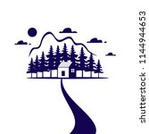country house or blue home icon ... | Shutterstock .eps vector #1144944653