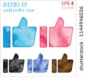 thumbs up watercolor icon set.... | Shutterstock .eps vector #1144946036