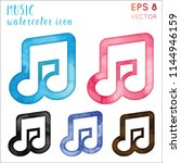 music watercolor icon set.... | Shutterstock .eps vector #1144946159