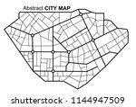 city map. line scheme of roads. ... | Shutterstock .eps vector #1144947509