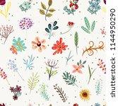 vector floral pattern in doodle ... | Shutterstock .eps vector #1144950290