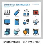 computer network icon set | Shutterstock .eps vector #1144958780