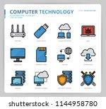 computer network icon set | Shutterstock .eps vector #1144958780