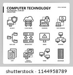 computer network icon set | Shutterstock .eps vector #1144958789