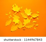 autumn leaves made from paper... | Shutterstock . vector #1144967843