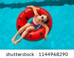 child with watermelon... | Shutterstock . vector #1144968290