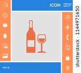 bottle of wine and wineglass... | Shutterstock .eps vector #1144971650