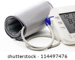 blood pressure meter showing a... | Shutterstock . vector #114497476